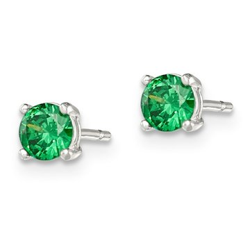 Sterling Silver Polished Green Glass Post Earrings