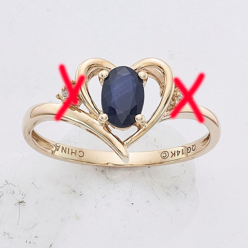 Quality Gold 14k Sapphire and Diamond Heart Ring