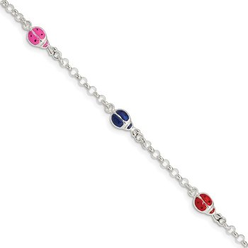 Sterling Silver Enameled Ladybug Childs 5in Plus 1in ext. Bracelet