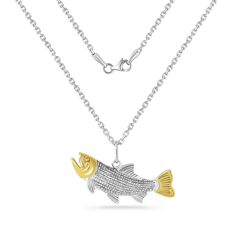 Shula NY 14K YELLOW  & STERLING SILVER TROUT PENDANT ON 18 INCHES SILVER CHAIN