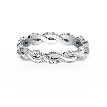 Kirk Kara 18K White Gold Engraved Twist Band