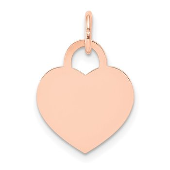 14k Rose Gold Medium Engraveable Heart Charm