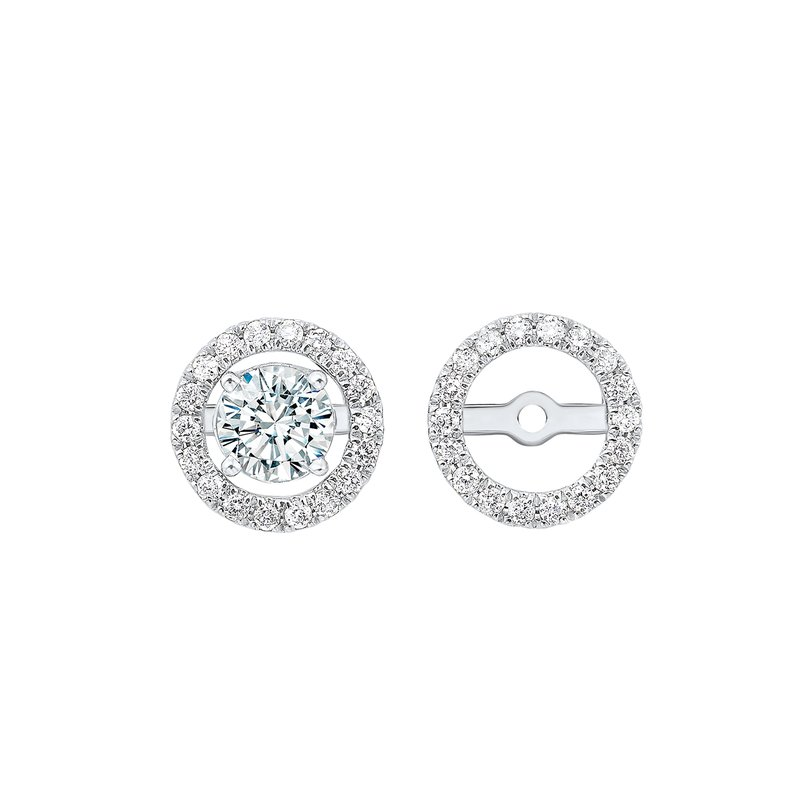 Gems One Micro Prong Diamond Halo Jacket Earrings in 14K White Gold (1/4 ct. tw.)