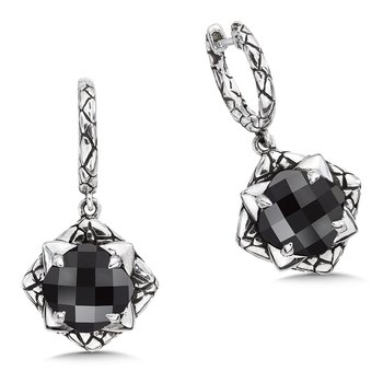Sterling silver and black onyx earrings