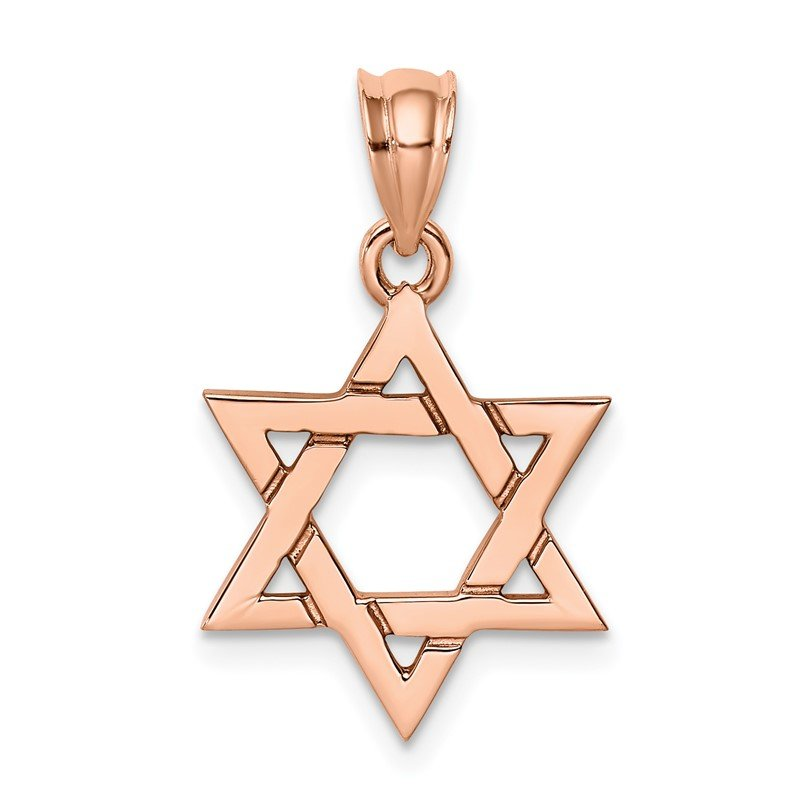 Quality Gold 14K Rose Polished Star of David Pendant