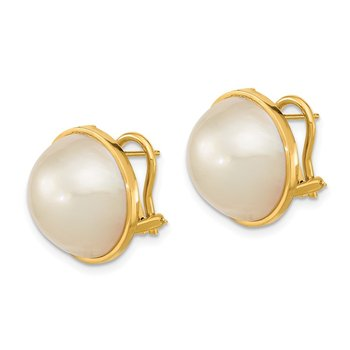 14k 14-15mm White Mabe Saltwater Cultured Pearl Omega Back Earrings
