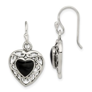 Sterling Silver Antiqued Onyx Heart Dangle Earrings