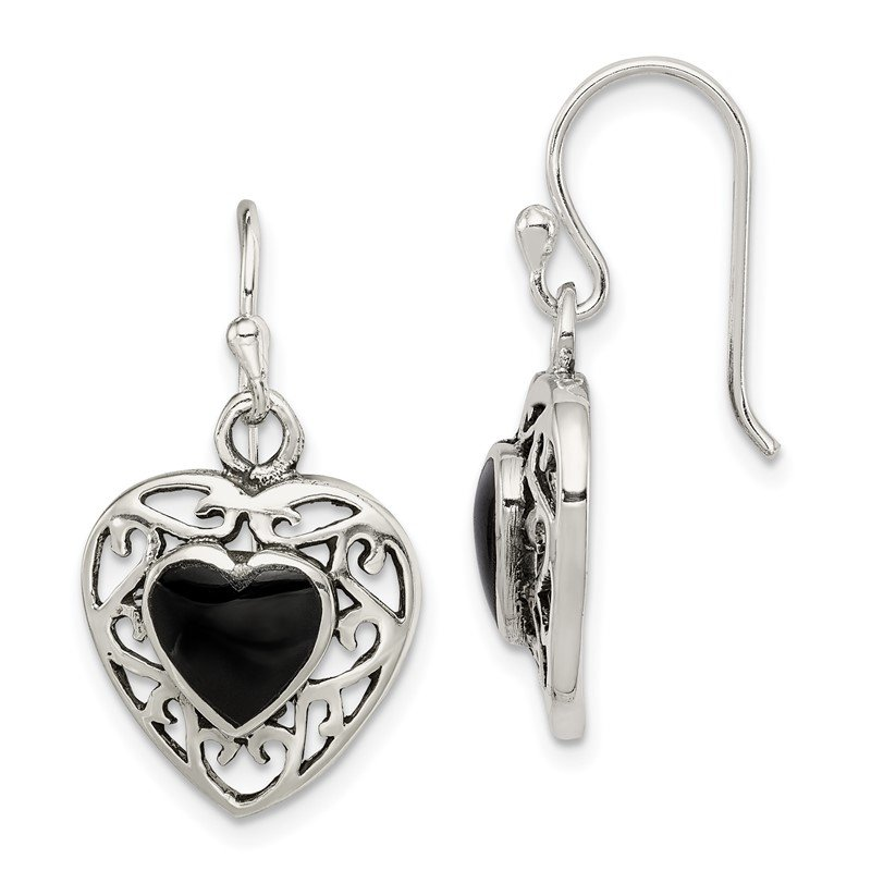 Quality Gold Sterling Silver Antiqued Onyx Heart Dangle Earrings