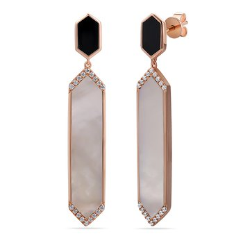 14K hexagon shape drop earrings with 36 diamonds 0.18ct , 2 black onyx 0.90ct & 2 white agate 5.26ct