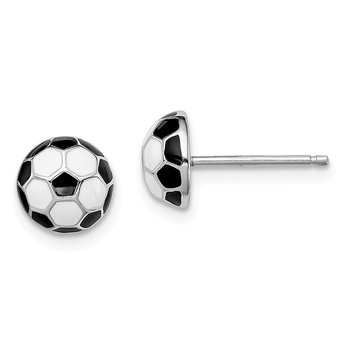 Sterling Silver Rhodium-plated Madi K Enamel Soccer ball Post Earrings