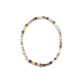 1 Row Necklace With Semi Precious Stones