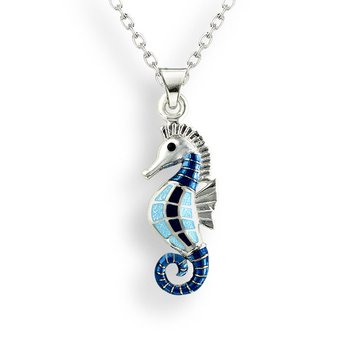 Blue Seahorse Necklace.Sterling Silver