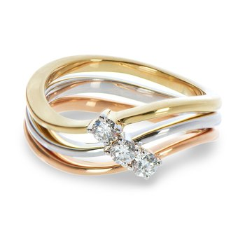 14K Tri Color Stackable Rings in Prong Setting