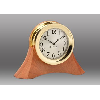 "6"" Ship's Bell Clock on Custom Thos. Moser Cherry Wood Base"