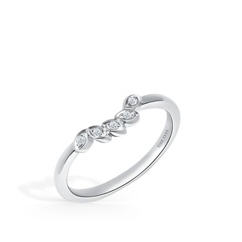 Diamond Leaf Diamond Wedding Band