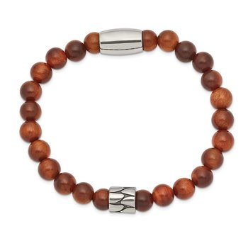 Stainless Steel Strech Antiqued & Polished Indonesian Red Wood Bracelet