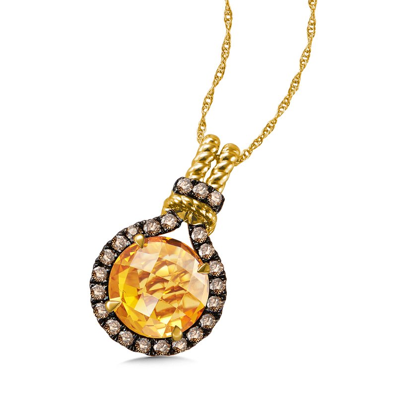 Citrine & Cognac Diamond Pendant in 14K Yellow Gold