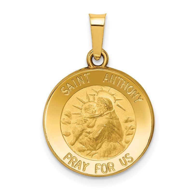 J.F. Kruse Signature Collection 14k Polished and Satin St. Anthony Medal Hollow Pendant