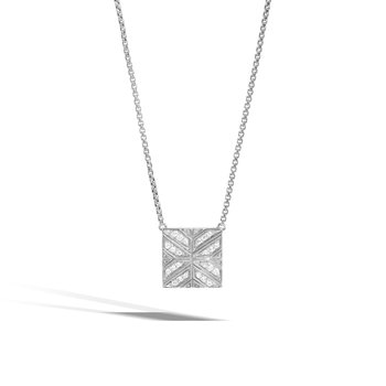 Modern Chain Necklace in Silver with Diamonds