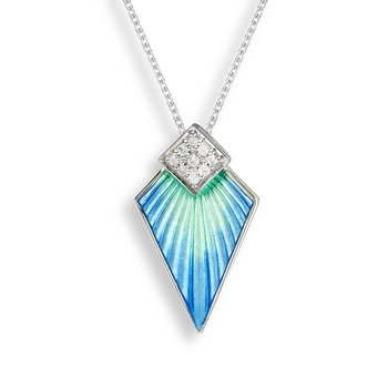 Blue Art Deco Necklace.Sterling Silver-White Sapphire