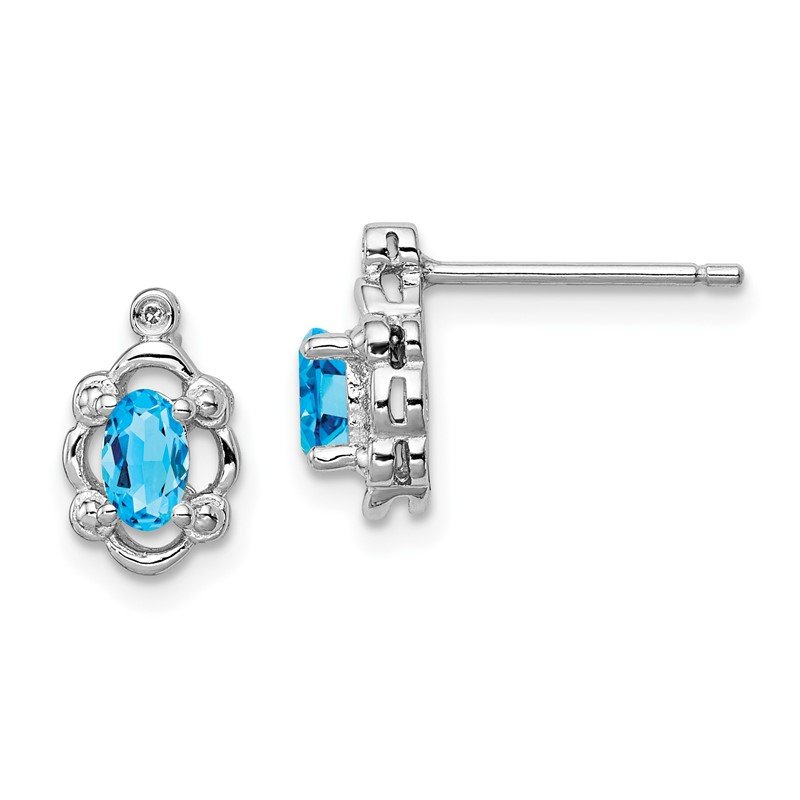 Quality Gold Sterling Silver Rhodium-plated Light Swiss Blue Topaz & Diam. Earrings