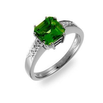 14K WG Diamond & Peridot Ring