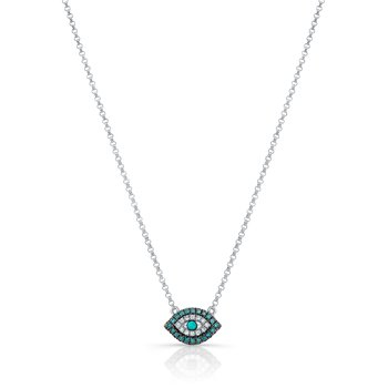 White Gold Piety Treated Blue Diamond Mini Evil Eye Necklace