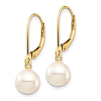 14K 7-8mm White Round Freshwater Cultured Pearl Leverback Earrings