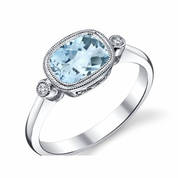 White Gold Cushion Aquamarine Ring with Diamonds