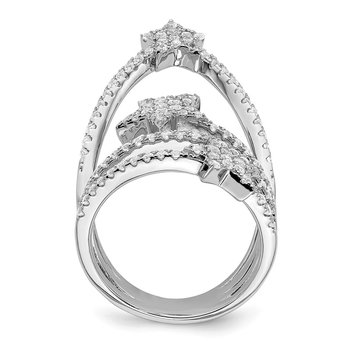 Sterling Silver Rhodium-plated CZ Star Ring