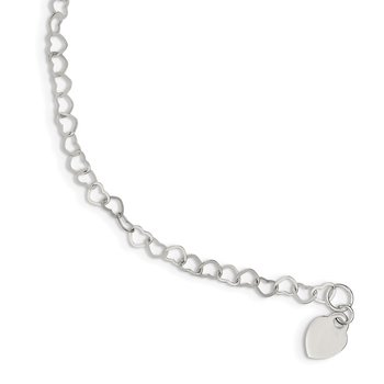 Sterling Silver Heart Link Childs Bracelet