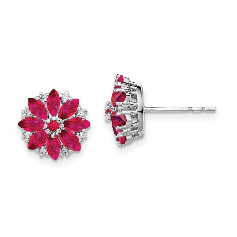 Quality Gold Sterling Silver Rhodium-plated Diamond & Composite Ruby Earrings