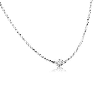 "14K White Gold .15 Single Diamond By The Yard Necklace with 18"" Chain"