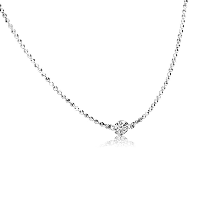 "Color Merchants 14K White Gold .15 Single Diamond By The Yard Necklace with 18"" Chain"