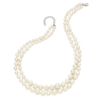 Sterling Silver Majestik Rh-pl 2 Row 6-12mm Grad Pearl w/2in ext Necklace