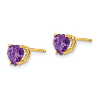14k 6mm Heart Amethyst Earrings