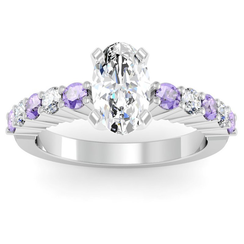 California Coast Designs Round Diamond & Tanzanite Engagement Ring