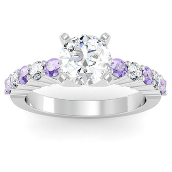 Round Diamond & Tanzanite Engagement Ring