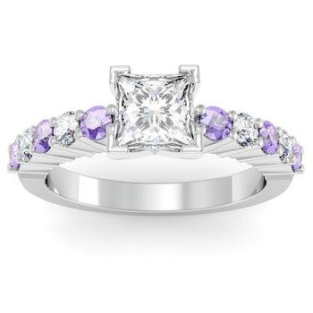 Round Diamond & Tanzanite Engagement Ring