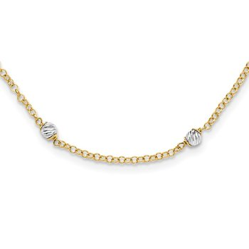 14k Two-tone Polished D/C Fancy Beaded 16in w/2in Ext Necklace