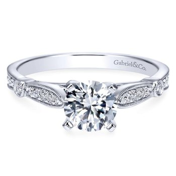 14k White Gold Diamond Straight Petite Channel Engagement Ring with Cathedral Setting