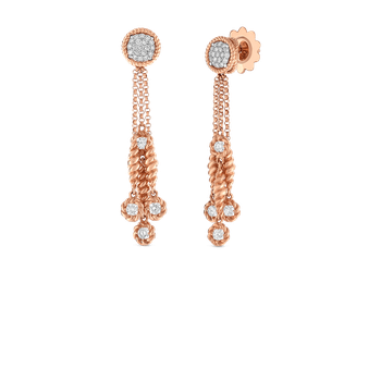 18KT GOLD TASSEL DROP EARRINGS WITH DIAMOND STATIONS