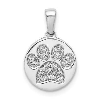 14k White Gold Diamond Paw Print in Circle Pendant