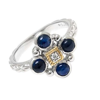 18KT & STERLING SILVER SAPPHIRE CABOCHON AND DIAMOND RING