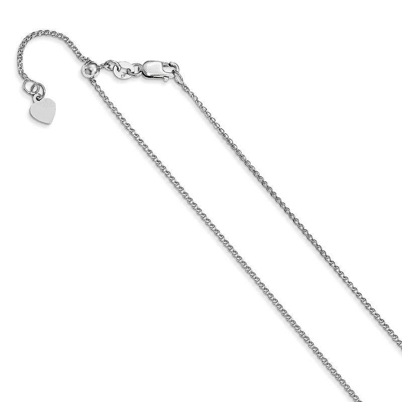 Leslies 10K White Gold .8 mm Adjustable Wheat Chain; 22 inch