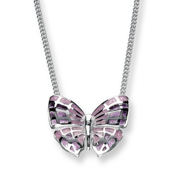 Purple Butterfly Necklace.Sterling Silver - Plique-a-Jour