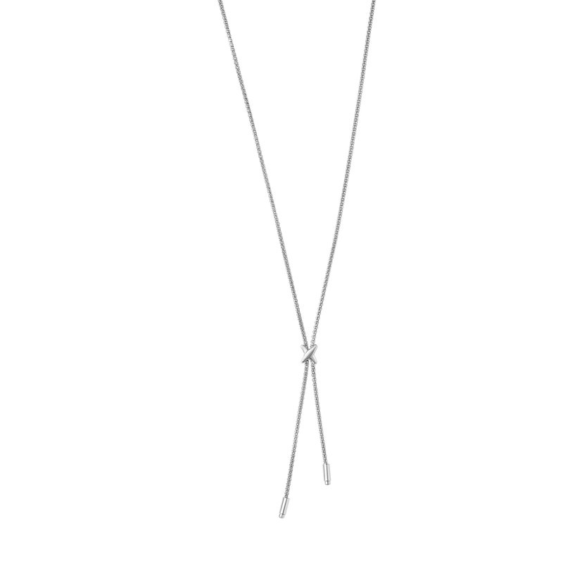"Royal Chain Silver ""X"" Lariat Bar Necklace"
