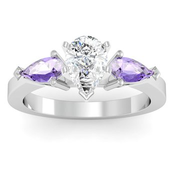 Classic Pear Shaped Tanzanite Engagement Ring