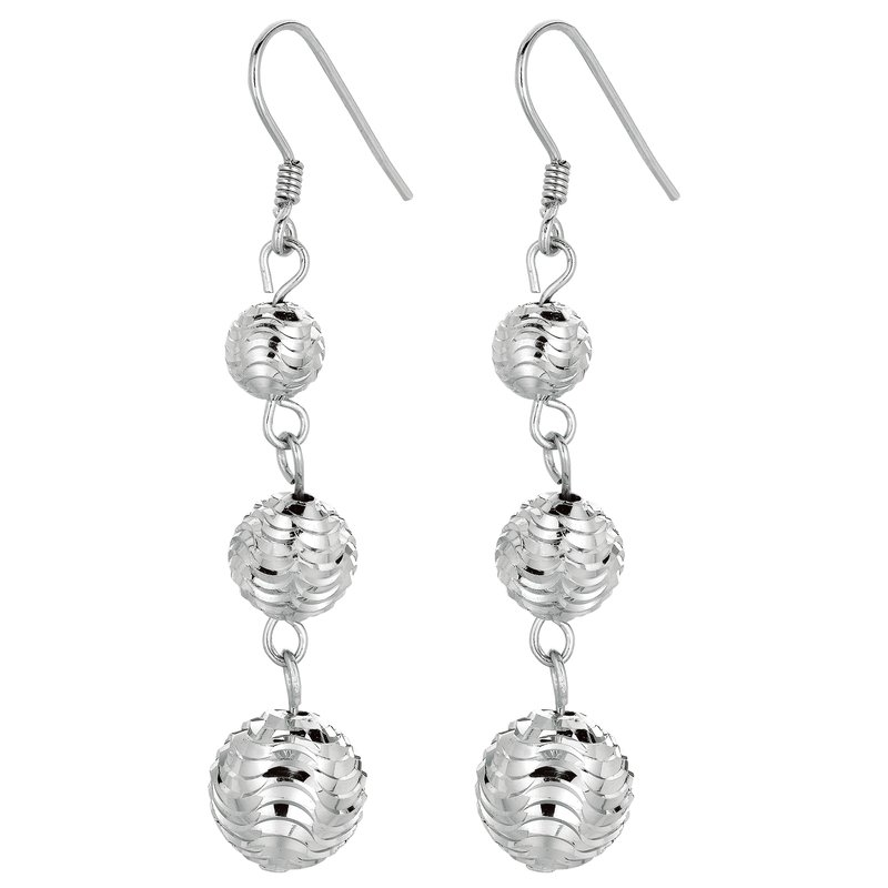 Royal Chain Silver Graduated Beads Drop Earring