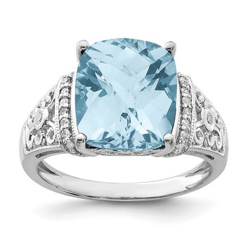Sterling Silver Rhodium Diam. & Checker-Cut Sky Blue Topaz Ring